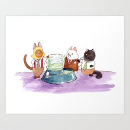 Breaking Cat News - The Water Cooler Art Print