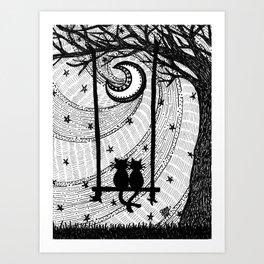 Kitty Swing Art Print