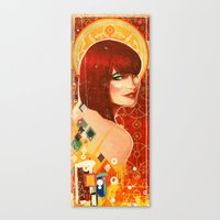 klimt Canvas Prints featuring KLIMT GIRL by Lorena Carvalho