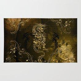 Wonderful golden chinese dragon Rug