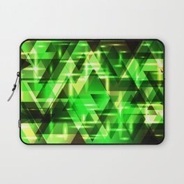 Spring gentle green horizontal strict stripes of sparkling grass triangles. Laptop Sleeve