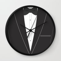 suit Wall Clocks featuring Suit  by Sally Elizabeth