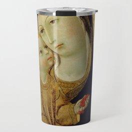 Sano di Pietro - Virgin and Child with Saints Jerome and Bernardino of Siena and Six Angels Travel Mug