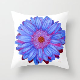 Gerbera Daisy: Blue and Purple Throw Pillow