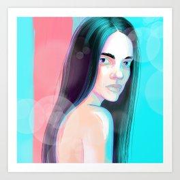 Sad young woman Art Print