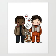 Finn and Poe and their Bay-be Art Print