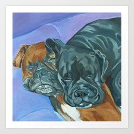 Boxer Buddies Dog Portrait Art Print