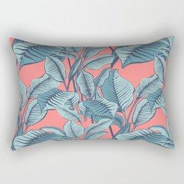 Pink Exotic Tropical Banana Palm Leaf Print Rectangular Pillow