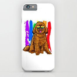 Adorable Dog With Rainbow Heart Glasses iPhone Case