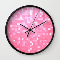 bubblegum Wall Clocks featuring Bubblegum Pink Pixels by 2sweet4words Designs