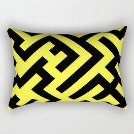 Black and Electric Yellow Diagonal Labyrinth Rectangular Pillow