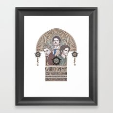Carry On My Wayward Son (Castiel, Sam and Dean Winchester) Framed Art Print