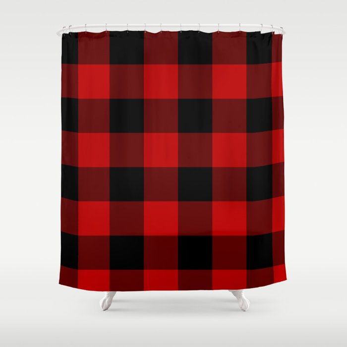 Red and Black Buffalo Plaid Shower Curtain by suttonplacedesigns ...