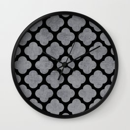 silver and black clover Wall Clock