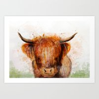 cow Art Prints featuring Cow by emegi