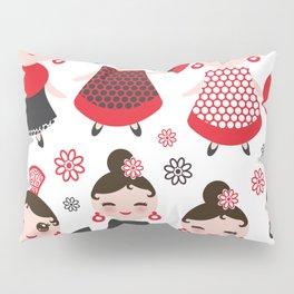 Seamless pattern spanish Woman flamenco dancer. Kawaii cute face with pink cheeks and winking eyes. Pillow Sham