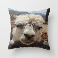 lama Throw Pillows featuring Lama  by Ricarda Balistreri