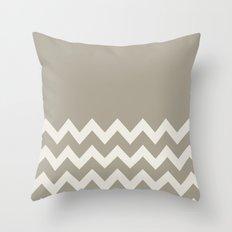 Chevron Colorblock Alabaster Blue Gray Throw Pillow