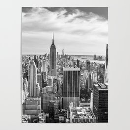 New York City Cityscape (Black and White) Poster