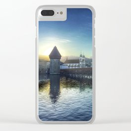 Sunset over Lake Lucerne Clear iPhone Case