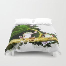 Two Frogs Under a Leaf Duvet Cover