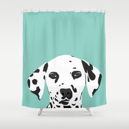 Dalmatian cute puppy dog black and white mint pastel gender neutral pet owner gifts love animals Shower Curtain