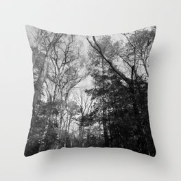 The forest canopy in a winter sky Throw Pillow