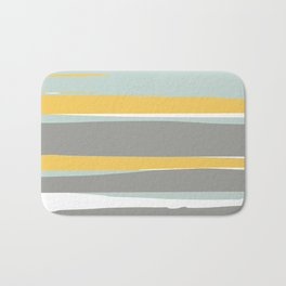 Stripe Abstract, Sun and Beach, Yellow, Pale, Aqua Blue and Gray Bath Mat