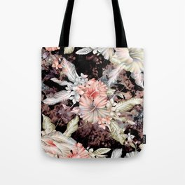 vintage designed flowers pattern and abstract painting Tote Bag
