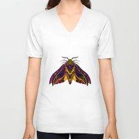 hawk V-neck T-shirts featuring Elephant Hawk Moth by Karl James Mountford