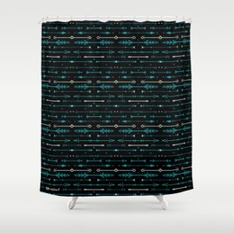 Scandi-Sticks A - Horizontal - Blues Shower Curtain