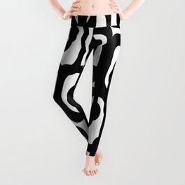 Black and White Mid-century Modern Loop Pattern Leggings