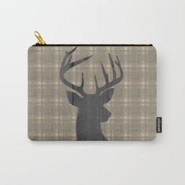Country Farmhouse Rustic Decor, Plaid and Stag, Beige, Brown Carry-All Pouch