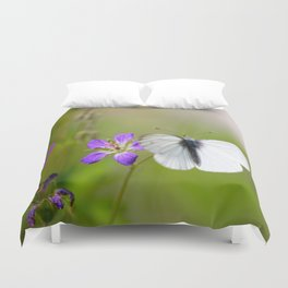 White Butterfly Natural Background Duvet Cover