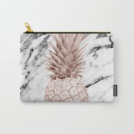 Rose Gold Pineapple on Black and White Marble Carry-All Pouch