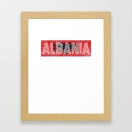 Albanian National Flag Gift Albania Country Vintage Design Framed Art Print