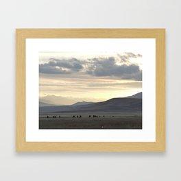 Sunset at Suusamyr valley, Kyrgyzstan Framed Art Print