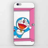 doraemon iPhone & iPod Skins featuring DORAEMON OPEN the Magic Door #4 by Timeless-Id