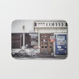 Bike and Coffee Shop in Kyoto Bath Mat