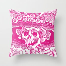 Calavera Catrina | Skeleton Woman | Pink and White | Throw Pillow