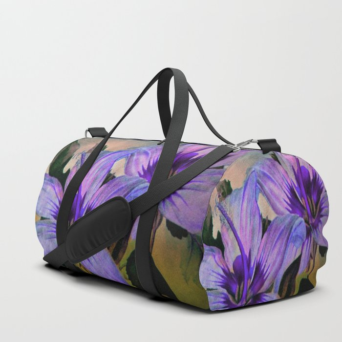 Vintage Painted Lavender Lily Duffle Bag