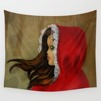 red riding hood Wall Tapestries featuring Red Riding Hood by Alannah Brid