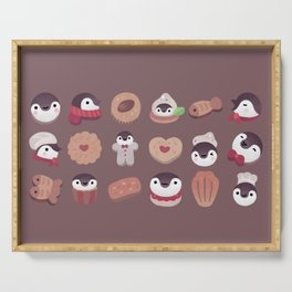 Cookie & cream & penguin - brown  pattern Serving Tray