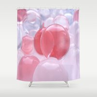 bubbles Shower Curtains featuring Bubbles by Tanja Riedel