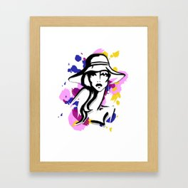 woman in hat Framed Art Print