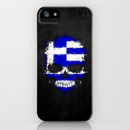 Flag of Greece on a Chaotic Splatter Skull iPhone Case