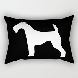 Airedale Terrier black and white minimal dogs dog silhouette art Rectangular Pillow