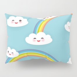 Kawaii funny white clouds set, muzzle with pink cheeks and winking eyes. blue pattern Pillow Sham