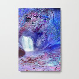 Waterfall in a Magic Wood Metal Print