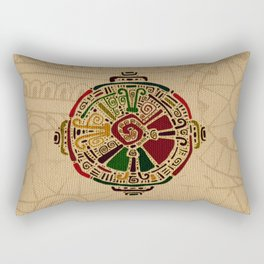 Colorful Hunab Ku Mayan symbol on cotton Rectangular Pillow